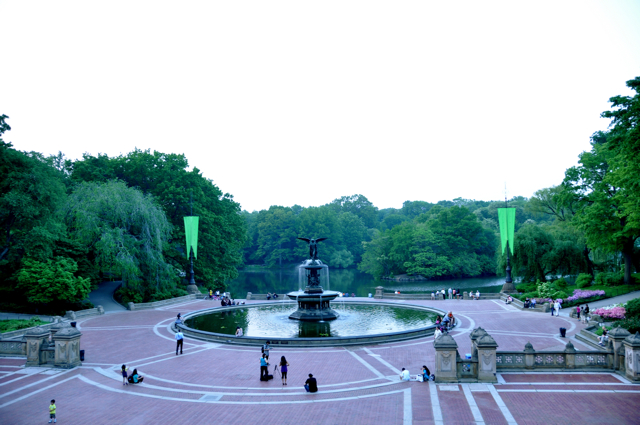 a wide angle shot of Bethesda fountain