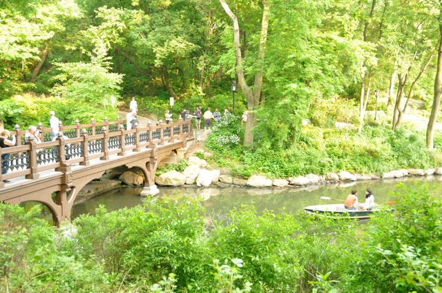 bridge and boat in Central Park