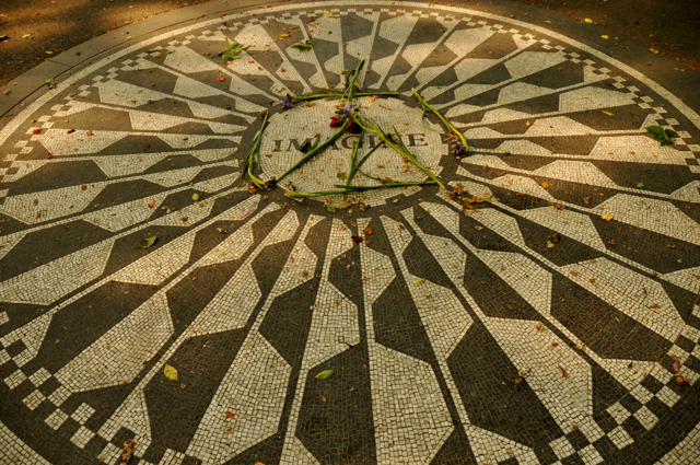 Imagine tribute to John Lennon in Strawberry Fields