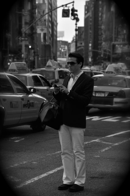 man waiting for a cab
