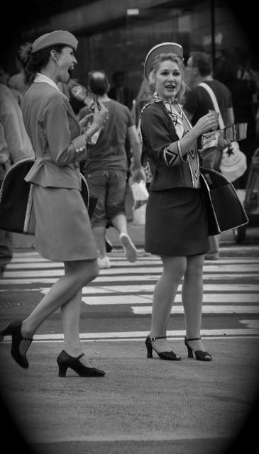 2 ladies dressed as stewardess