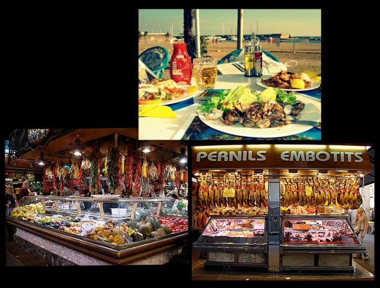 Barcelona staples: chipirones; food stalls in La Boquería