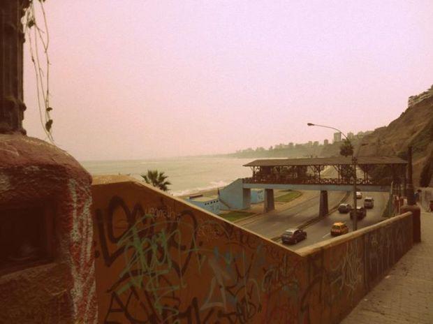 walking along the coast of Miraflores