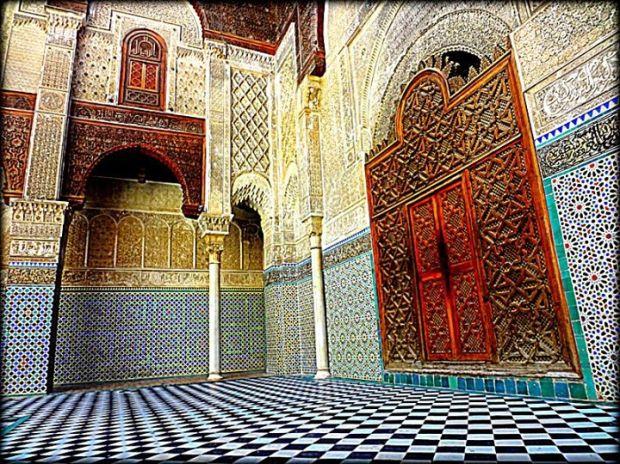 colorful tiles inside a mosque, Fez