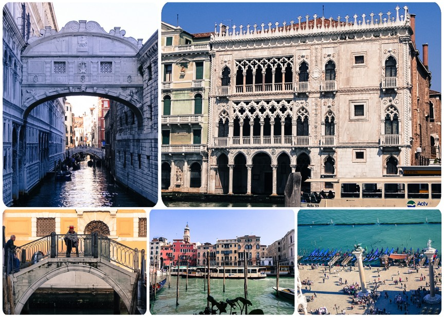 The Bridge of Sighs; Ca d'Oro; gondolier; Grand Canal; view from the bell tower