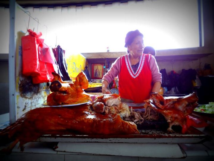 roast pig in the market