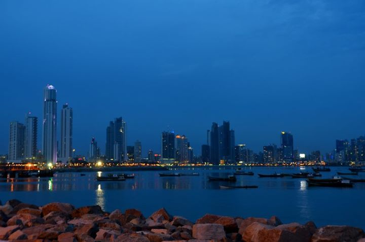 Blue sky, blue waters. The Panama skyline at twilight.