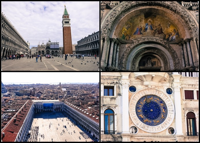St. Mark's Cathedral is dwarfed by its bell tower; to the right of it is a deteiled look at the cathedral's artwork; below is the spacious St. Mark's Square and the city of Venice; Torre dell'Orologio (clock tower) displays the Zodiac and phase of the moon and chimes every hour