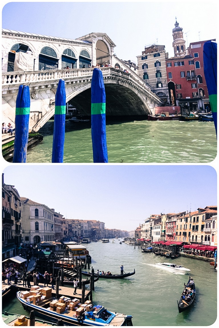 The Rialto Brige and view of the Grand Canal from the bridge