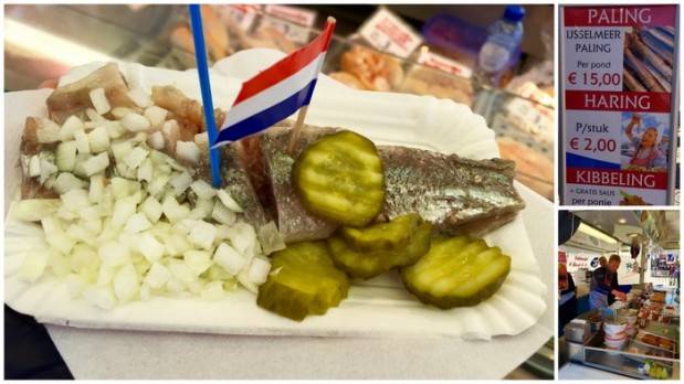 raw herring with pickles and onions! yum!