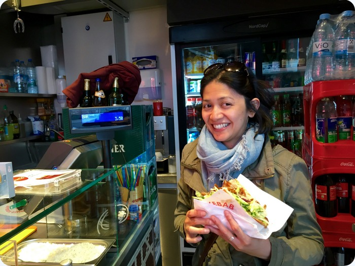 Döner kebab :-)  it is said that the modern version of this sandwich was invented here in Berlin.