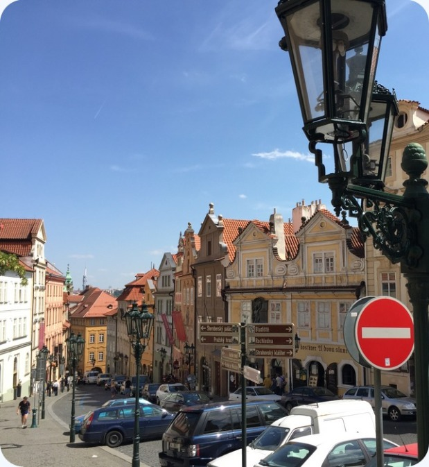 Nerudova street, Castle District. Very cute street lined with shops and restaurants leading up to Prague Castle