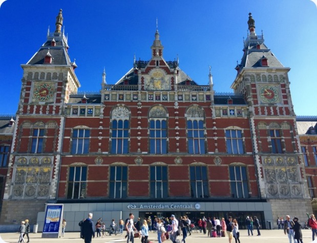 Amsterdam Centraal Railway Station, beautiful Gothic/Renaissance architecture