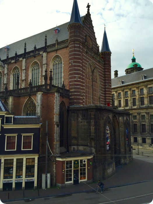 view of Nieuwe Kerk (New Church) from my hotel window