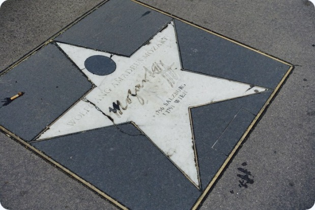 Mozart star on the sidewalk by Theater an der Wien