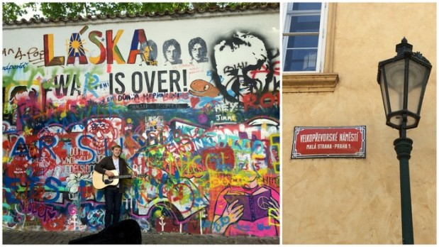 John Lennon Wall.  Back in the 80s young Czechs would paint their government grievances on this stretch of wall.  The police would paint over it, then the people would write graffiti all over again.  This is the current state of the wall, and is now considered a symbol of love, peace, and other ideals.