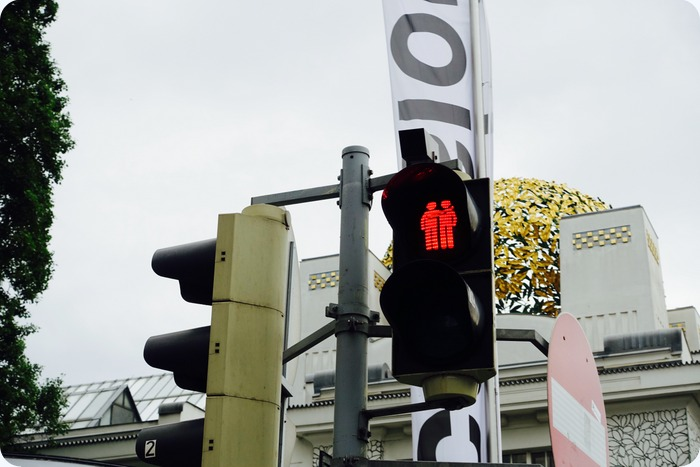I loved the stoplights in Vienna: they showed 2 people hand in hand either walking or standing together.