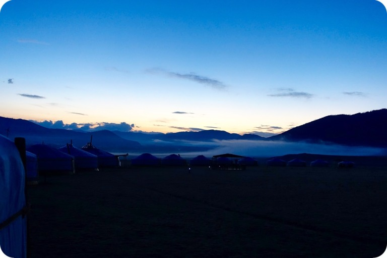Early dawn in the camp